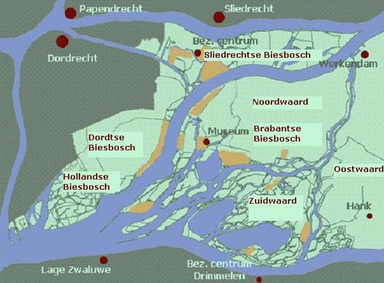Kaart Biesbosch delen