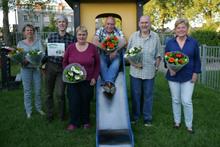 vlnr: Fran-Jeanne Polders, Henk van der Maas, Chistine van Dalen, Ed Bomius, Jan van Dalen en Truus Geluk