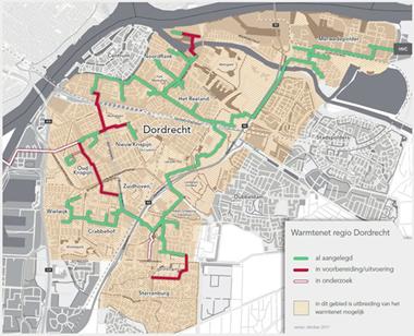 Kaart warmtenet Dordrecht